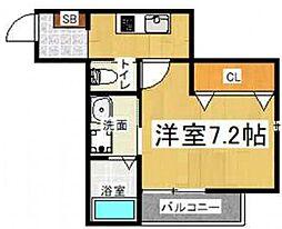 大阪府大阪市生野区桃谷3の賃貸アパートの間取り