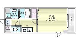阪急千里線 山田駅 徒歩9分の賃貸マンション 5階1Kの間取り