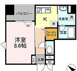 西鉄天神大牟田線 薬院駅 徒歩6分の賃貸マンション 6階1Kの間取り