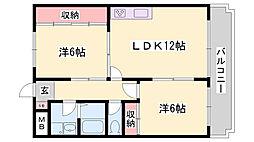 シャトー藤 1階2LDKの間取り