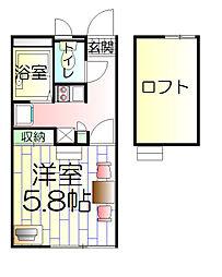 神奈川県川崎市川崎区観音1丁目の賃貸アパートの間取り