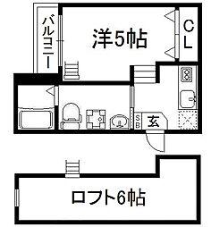 京都府京都市伏見区桃山町養斉の賃貸アパートの間取り