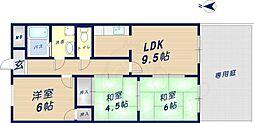 近鉄けいはんな線 荒本駅 徒歩17分の賃貸マンション 1階3LDKの間取り