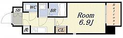 ファーストレジデンス大阪ベイサイド 7階1Kの間取り