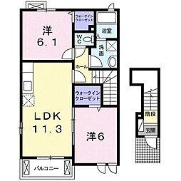 高松琴平電気鉄道長尾線 長尾駅 3.7kmの賃貸アパート 2階2LDKの間取り