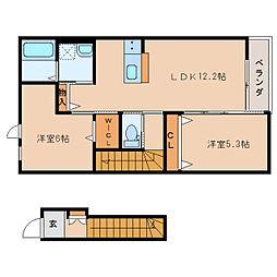 静岡県静岡市葵区東瀬名町の賃貸アパートの間取り