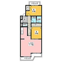 桜花城レジデンス[2階]の間取り
