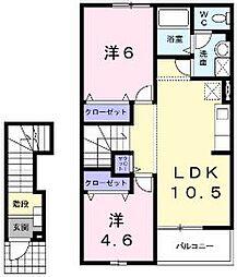 福岡県中間市扇ヶ浦1丁目の賃貸アパートの間取り