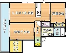 福岡県北九州市八幡西区上香月1丁目の賃貸アパートの間取り