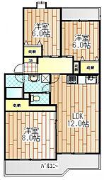神奈川県海老名市杉久保の賃貸マンションの間取り
