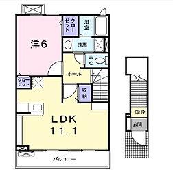 東京都調布市深大寺東町1丁目の賃貸アパートの間取り