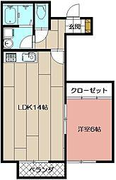 AL SOLE B棟[103号室]の間取り