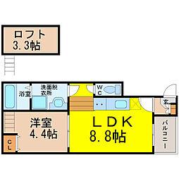 名鉄名古屋本線 山王駅 徒歩7分の賃貸アパート 2階1SLDKの間取り
