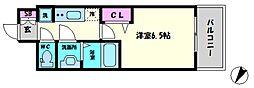 プレサンスOSAKA DOME CITYビーツ 4階1Kの間取り