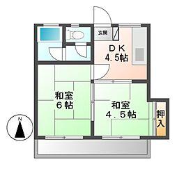 ハイツゾンネ[1階]の間取り