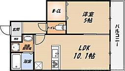 シャーメゾン朝日 3階1LDKの間取り