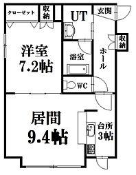 北海道札幌市豊平区美園十一条6丁目の賃貸アパートの間取り
