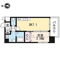 JR東海道・山陽本線 岸辺駅 徒歩4分の賃貸マンション 8階1DKの間取り