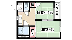 愛知県名古屋市天白区池場3丁目 の賃貸アパートの間取り