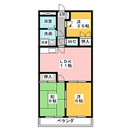 ドミール上野[1階]の間取り