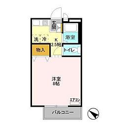 花畑ロイヤルパークF[2階]の間取り