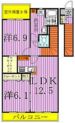 千葉県白井市西白井3の賃貸アパートの間取り