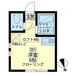 ユナイト渡田東マリアーノの瞳[201号室]の間取り