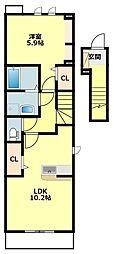 JR東海道本線 岡崎駅 徒歩28分の賃貸アパート 2階1Kの間取り