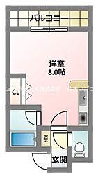 京阪本線 萱島駅 徒歩10分の賃貸マンション 3階ワンルームの間取り