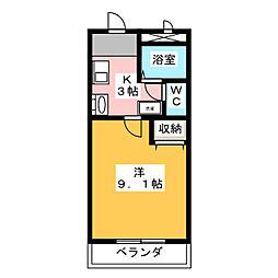 サンライズ平手[3階]の間取り