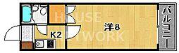 京都府京都市中京区西ノ京南壺井町の賃貸マンションの間取り