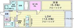 仙台市営南北線 五橋駅 徒歩15分の賃貸マンション 4階1LDKの間取り