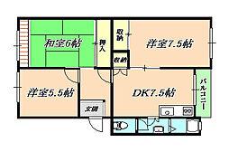 星陵台住宅[4階]の間取り