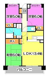 埼玉県新座市東2丁目の賃貸マンションの間取り