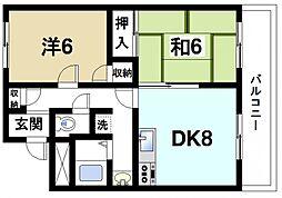 奈良県奈良市大宮町7丁目の賃貸マンションの間取り