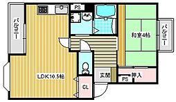 第三粉浜コーポ[202号室]の間取り