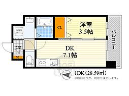 アンフィニ17マローネ 8階1DKの間取り