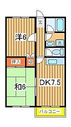 富士ハウスB[2階]の間取り