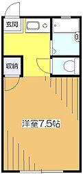 東京都東村山市富士見町2丁目の賃貸アパートの間取り