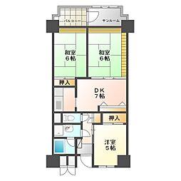 ビレッジハウス金沢タワー[1011号室]の間取り