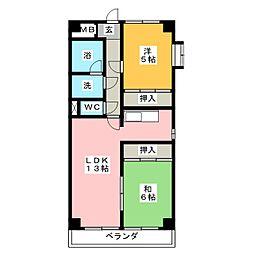 クレスト三郷[6階]の間取り
