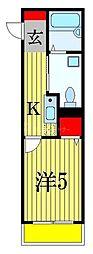 京成本線 船橋競馬場駅 徒歩2分の賃貸アパート 3階1Kの間取り