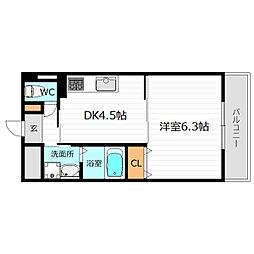 京阪本線 野江駅 徒歩3分の賃貸マンション 5階1DKの間取り