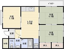 マンショングランディ[2階]の間取り