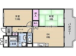 アーバン北田[8階]の間取り