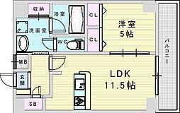 Osaka Metro御堂筋線 新大阪駅 徒歩8分の賃貸マンション 11階1LDKの間取り