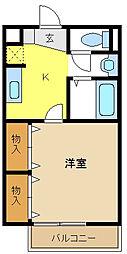 愛知県名古屋市瑞穂区膳棚町3丁目の賃貸アパートの間取り