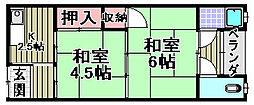 ニュー信太山ハウス[1-6号室]の間取り