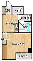 JR牟岐線 阿波富田駅 徒歩11分の賃貸マンション 3階1Kの間取り