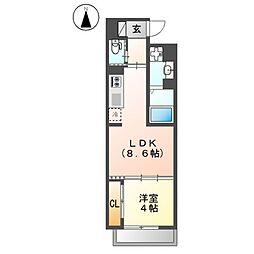 (仮称)足代北賃貸マンション新築工事[4階]の間取り